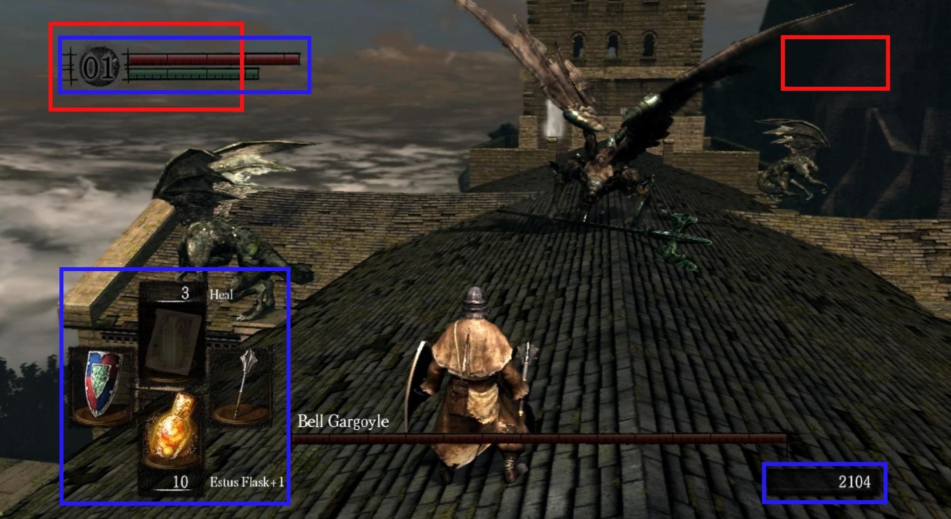 HUD de Dark Souls comparado con el de Bloodborne