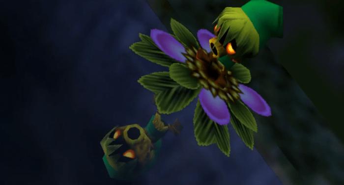 Link mirandose como un Deku horrorizado