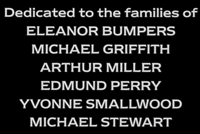 Dedicado a las familias de Eleanor Bumpers, Michael Griffith, Arthur Miller, Edmund Perry, Yvonne Smallwood, y Michael Stewart