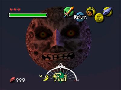 La luna con cara amenazadora sobre Termina