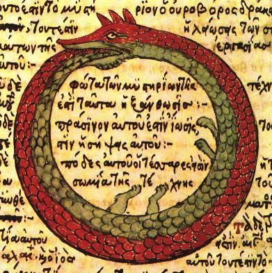 Dibujo de la serpiente en un manuscrito