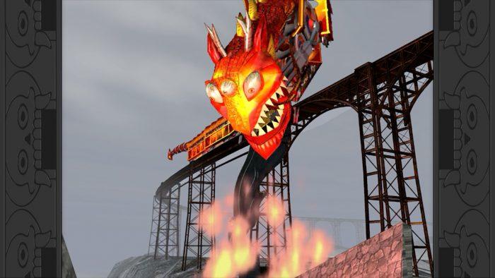 Un tren demoniaco zambuyendose en un pozo de llamas