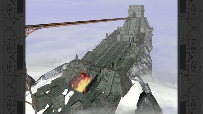 una piramide azteca con una larga pista de tren