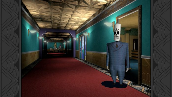 una calavera con un traje dentro de un pasillo de oficinas