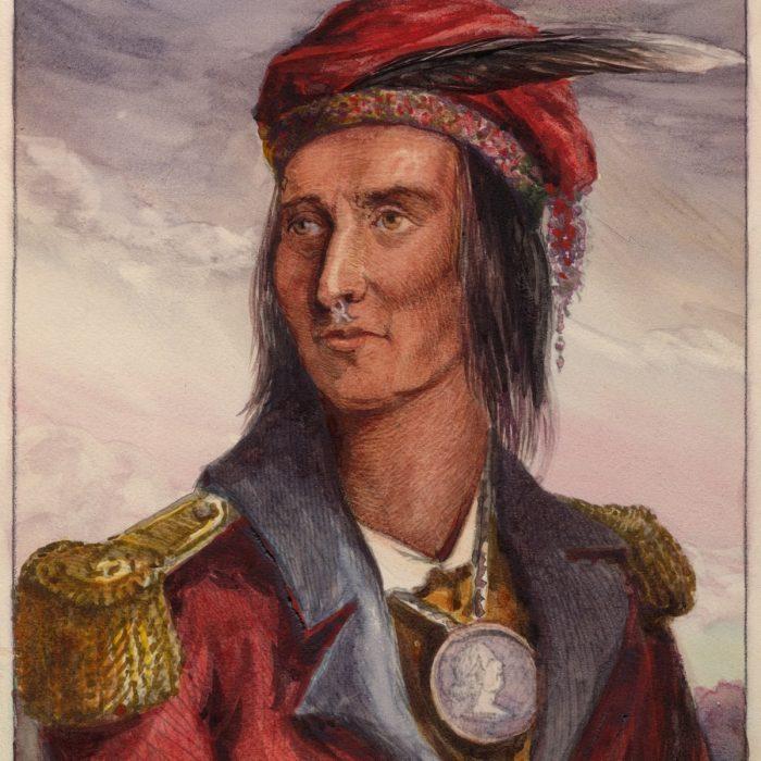 Retrato de Tecumseh con uniforme militar