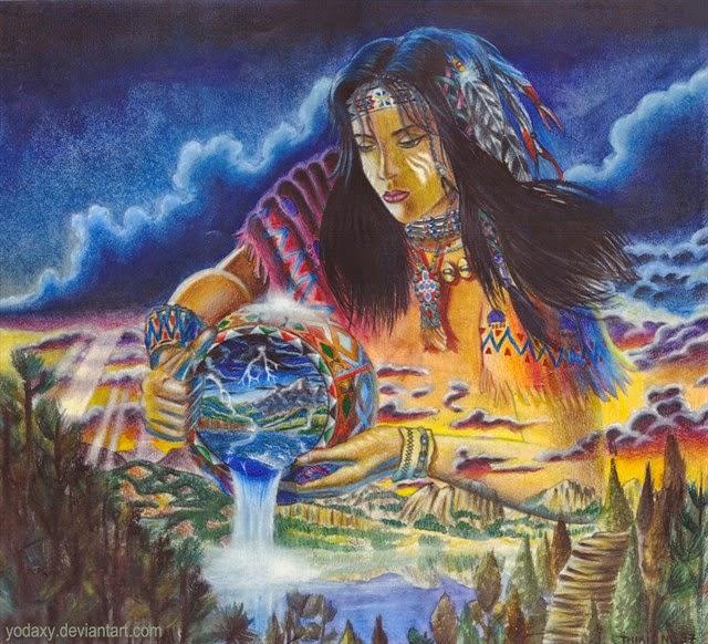 Retrato de Kokumthena, diosa vertiendo agua de un cuenco hacia el mundo
