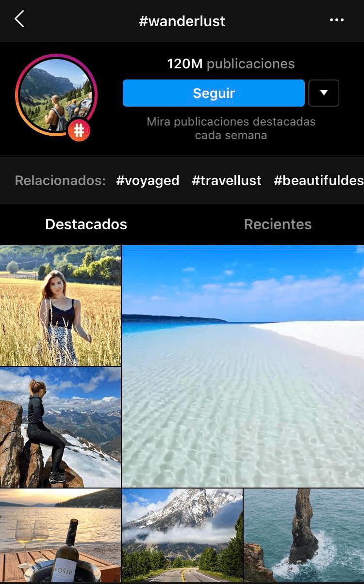hashtag wanderlust en Instagram