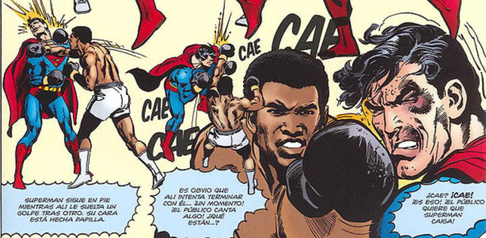 Superman derrotado por Muhammad Ali