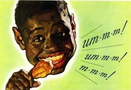 caricatura ridicula de un niño negro comiendo pollo