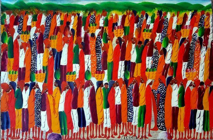 Pintura de muchas personas negras en atuendos coloridos unas junto a las otras