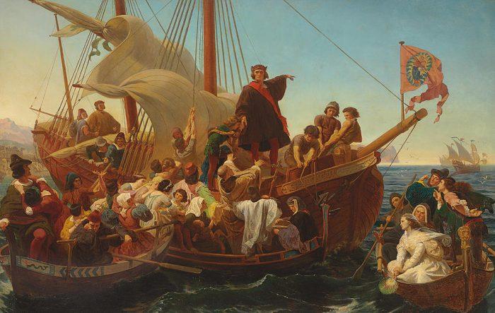 Pintura de cristobal colón en un barco con multiples personas listos para zarpar