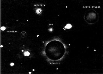 Mapa de planetas mostrando Drexciya, Ociya Syndor, Bowslac, Ceeroze y un sol