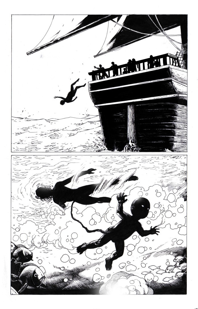 Esclavo siendo tirado por la borda, bebe naciendo de una mujer debajo del agua